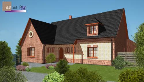 Maisons style classique pierre ytong for Extension maison ytong