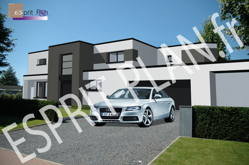 Avant projet maison extensions renovations sur arras for Plan maison contemporaine bbc