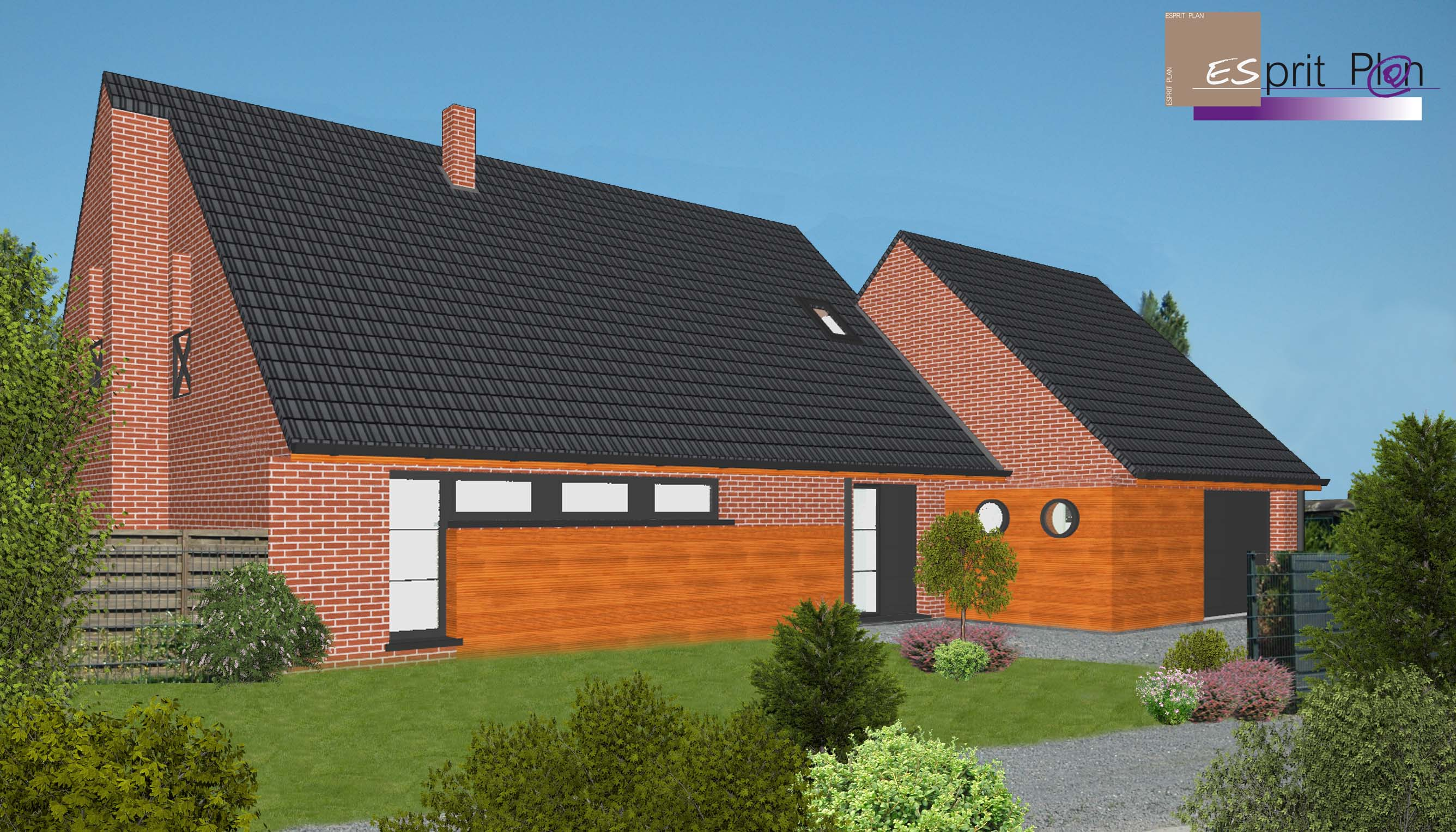 Esprit plan permis de construire extensions renovations for Extension maison tuile