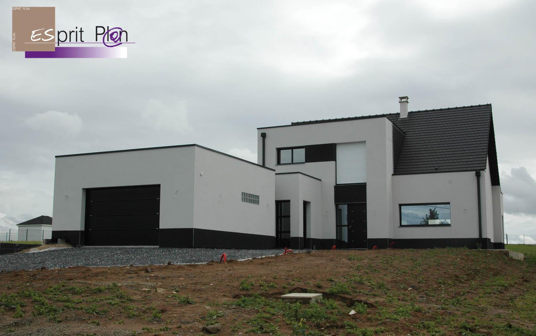 Realisations maison extensions renovations sur arras lille et nord pas de calais modele - Maison crepi blanc et gris ...