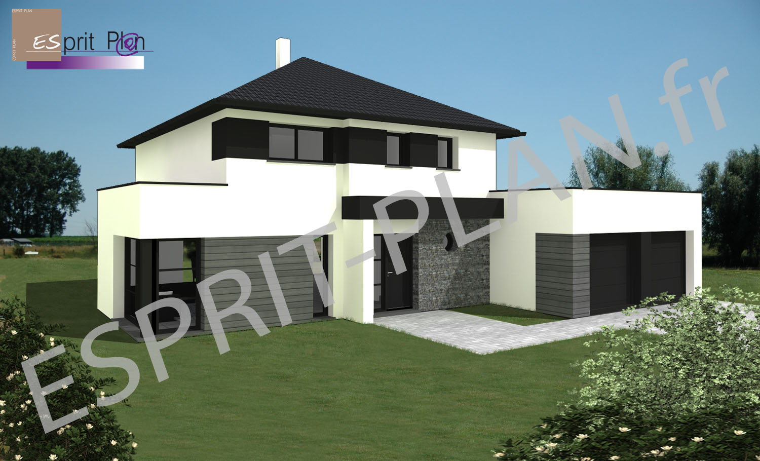Avant projet maison extensions renovations sur arras for Plan maison contemporaine plain pied architecte